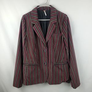 Free People maroon striped velour blazer